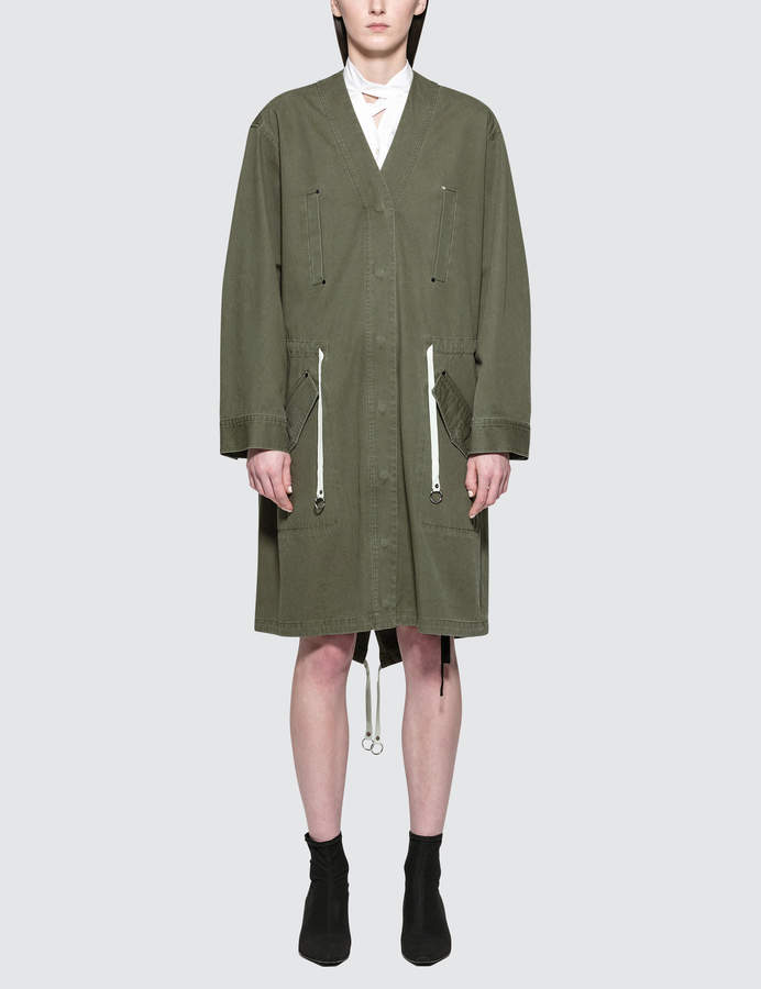 Alexander Wang Garment Washed Cotton Twill Jacket With Gathered Waist