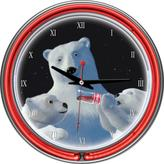 Neon Clock - Polar Bear with Cubs