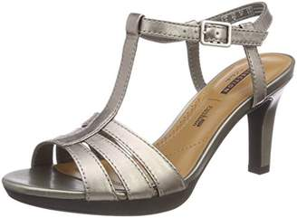 Clarks Women's Adriel Tevis Ankle Strap Sandals, Beige (Pewter Leather)