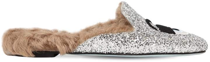Chiara Ferragni 20mm Flirting Glitter & Fur Mules