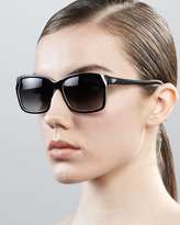 Diane von Furstenberg Darcee Rectangle Sunglasses, Black