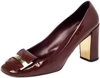 Louis Vuitton Maroon Patent Leather Block Heel Square Toe Pumps Size 40