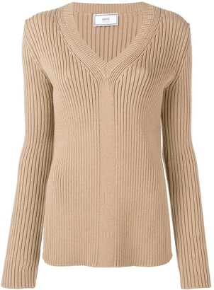 AMI Paris V Collar Rib Sweater