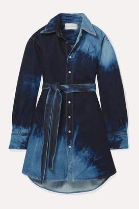 Matthew Adams Dolan - Oversized Belted Tie-dyed Denim Dress - Blue