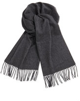 Neiman Marcus Cashmere Solid Fringe Scarf, Gray
