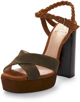 Lanvin Braided Suede Platform Sandal, Camel/Olive