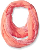 D&Y Women's Mesh Panel Solid Crinkle Loop Scarf