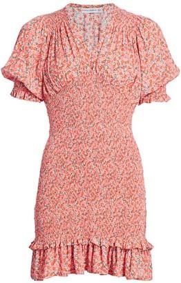Faithfull The Brand Margherita Floral Smocked Mini Dress