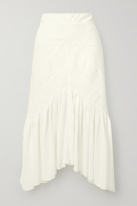 Lug Von Siga Carla Asymmetric Crochet-trimmed Swiss-dot Cotton Midi Skirt - White