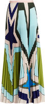 Mary Katrantzou Pelar pleated crepe de Chine maxi skirt