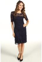 Karen Kane Scallop Hem Lace Dress (Navy/Black) - Apparel