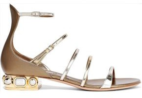 Casadei Embellished Metallic And Mirrored-leather Sandals