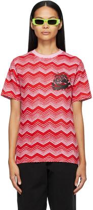 SSENSE WORKS SSENSE Exclusive Jeremy O. Harris Red & Pink Print Rose T-Shirt