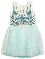 Billieblush Under the Sea Jersey & Tulle Dress, Blue/White, Size 4-8