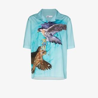 GmbH Luka falcon print bowling shirt