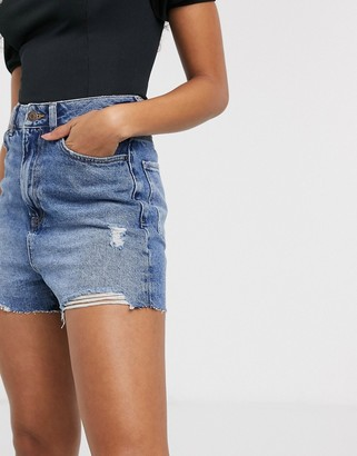 New Look high rise mom short in mid blue