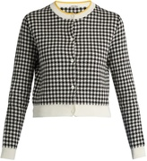 Miu Miu Button-down gingham-intarsia cotton cardigan