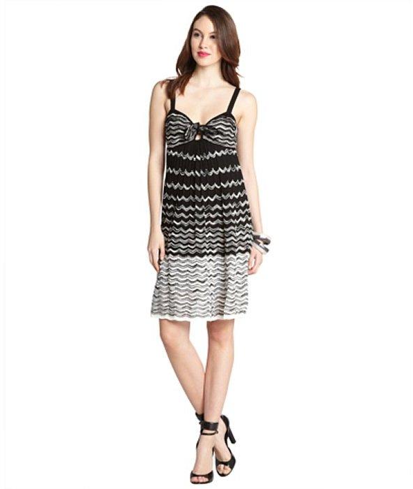 M Missoni black and white cotton blend wave knit knot neck dress