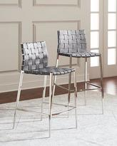 Interlude Home Kennedy Woven Leather Bar Stool, Gray