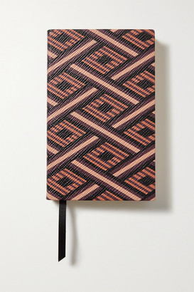Smythson Panama Printed Textured-leather Notebook - Brown