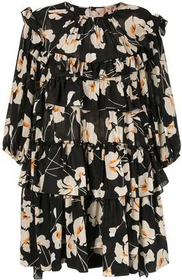 No.21 Floral Ruffle Mini Dress