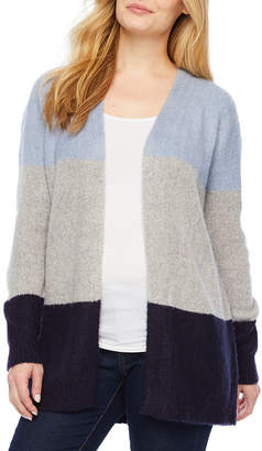 A.N.A Petite Womens Long Sleeve Open Front Striped Cardigan