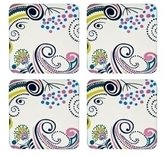 Denby 10.5 x 10.5 cm Cork Backed Monsoon Cosmic Cream Coaster Set, Set of 4, Multi-Color/ Cream