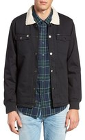 Obey Colton Faux Shearling Collar & Lined Twill Jacket