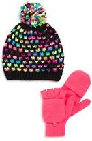 Capelli Girls' Birdseye Stitch Hat & Convertible Glove Set - Sizes S/M-M/L