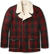 Saint Laurent - Faux Shearling-trimmed Checked Wool Jacket