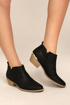 Qupid Marzia Black Distressed Ankle Booties