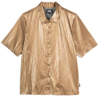 Stussy Bronze Shiny Button Down Shirt - xs