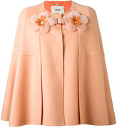 Fendi flower embellished cape - women - Lamb Skin/Mink Fur/Cashmere - 40