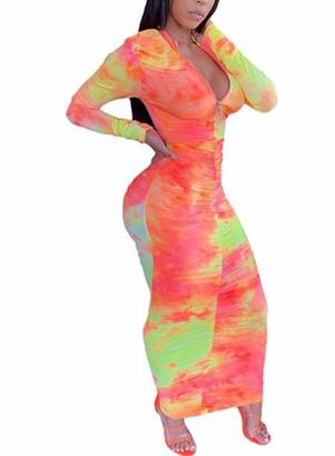 CORAFRITZ Womens Bodycon Wrap Dress Tie Dye Sexy Ladies Club Dress Long Sleeve Casual Maxi Dress Party Dress Orange