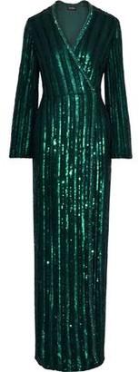 Jenny Packham Embellished Chiffon Wrap Gown