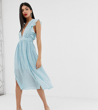 Glamorous Tall plunge front midi dress in star print-Blue