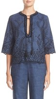 Yigal Azrouel Women's Lace Trim Eyelet Embroidered Denim Top