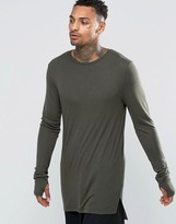 Asos Fine Rib Super Longline Muscle Long Sleeve T-Shirt With Thumbholes In Khaki
