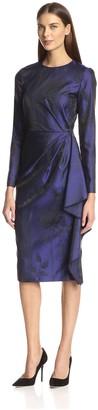 Christian Siriano Women's Floral Side Flounce Dress
