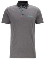 HUGO BOSS - Slim Fit Golf Polo Shirt With Color Block Collar - Black