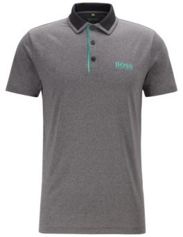 HUGO BOSS - Slim Fit Golf Polo Shirt With Color Block Collar - Black