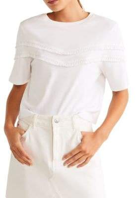 MANGO Fringed Cotton Top
