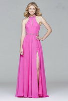 Faviana 7991 Long chiffon halter dress with beaded trim