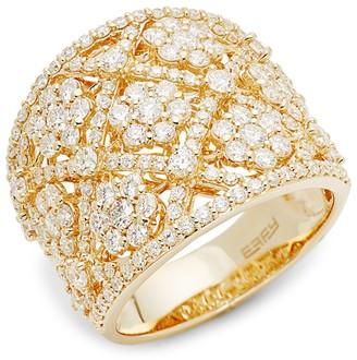 Effy 14K Yellow Gold Diamond Wide Ring