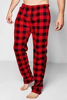 boohoo Mens Black And Red Checked Fleece Pyjama Pants