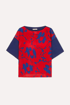 Marni Floral-print Crepe De Chine Top - Red