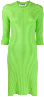 Courreges Embroidered Logo Ribbed Dress