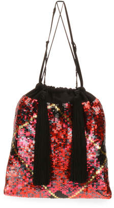 ATTICO The Full Sequin Tartan Pouch Bag