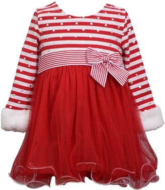 Bonnie Jean Baby Girl Long Sleeve Stripe Knit with Faux Fur Cuffs