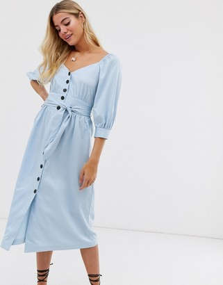 Moon River puff sleeve button through midi dress-Blue